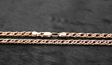 585 Russian Rose 14k Gold Double Romb Chain Necklace 5mm x 55cm gift boxed