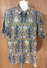 Kahala Avi Collection Mens XL Hawaiian Short Sleeve Cotton Lawn Shirt  Blue