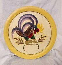 """Large Hand Painted Rooster Wood Serving Platter/Plate Mid Century Folk Art 16"""""""