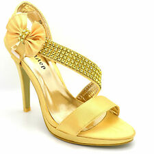 WOMENS WEDDING EVENING LADIES PROM HIGH HEEL PLATFORM SHOES BRIDAL SANDALS F8815