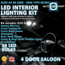 Audi A4 B6 Saloon 00-06 Led Interior Upgrade Kit Completo Conjunto De Bulbo Xenon Blanco