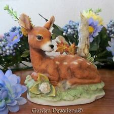 Bisque SPOTTED FAWN DEER STATUE FIGURINE & BIRCH TREE ~ Nice!