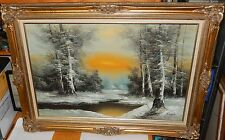 R,THOMAS SNOW MOUNTAIN RIVER LANDSCAPE OIL ON CANVAS PAINTING