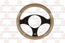 """Protector Tan Chrome Steering Wheel Cover 14"""" Inch Universal Fit Accesories New"""