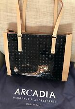 New Arcadia Italian Black Embossed Patent Leather/Tan Leather Large Tote Handbag