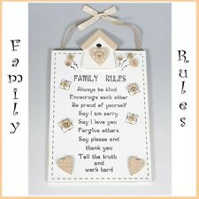 FAMILY RULES WALL HANGING WOOD SIGN PLAQUE HEARTS  & BUTTON DECORATION