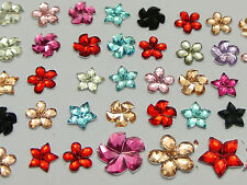 1000 Assorted Acrylic Flatback Faceted Flower Star Windmill Rhinestone Gems 6mm