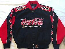 JH Design NASCAR COCA COLA COKE BOTTLE Embroidered Cotton Racing Jacket Size Med