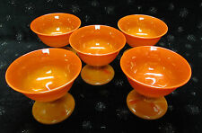 5) c1924-25 RARE NORTHWOOD CHINESE CORAL COLOR SLAG GLASS SHERBETS HIGH QUALITY