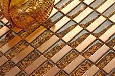 10cm x 10cm Muster. Glas und Edelstahl Mosaik Fliesen in Gold (MT0104 muster)