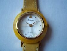 Ermex yellow ladies quartz watch. Old stock - unused, with scratches on caseback