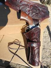 "Western quickdraw gun Holster 22 cal 34"" waist thick tooled leather cowboy NEW"