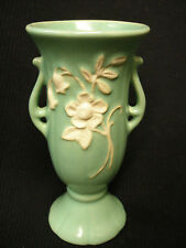 EARLY WELLER ANTIQUE ART POTTERY VASE SINCE 1872 MATTE GREEN & WHITE RELIEF LILY