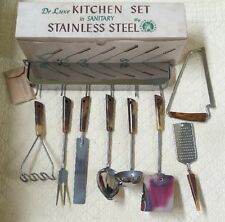 De Luxe Kitchen Set In Sanitary Stainless Steel By Parker Gains Set 9 Pieces Vtg