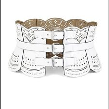 ❤️ NWT!! SOLD OUT! BCBG MAXAZRIA SCALLOPED CORSET WHITE BELT; Sz M - $138.00