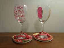 Hand Painted Wine Glass Set ~ Flip Flops ~ At least flip flops fit every year!
