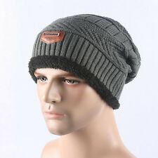 Unisex Women Men Camping Hat Winter Beanie Baggy Warm Wool Ski Cap Fleece Line