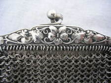 ART NOUVEAU Fleur pensée ARGENT MASSIF Bourse aumônière porte Louis silver bag
