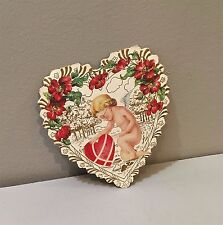Vtg Valentine Card Anthropomorphic Broken Heart Nude Cupid Round Wire Eyeglasses