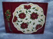 Vintage Poinsettia Cheese Serving Tray Plate & Knife Set ~ Christmas/Holiday