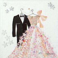 4 Tavola Singola Festa Tovaglioli di carta per Decoupage Decopatch Craft Sposa e Sposo