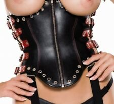 Leather Underbust Corset with Side Straps Black and Red by Ledapol size Small