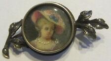 Vecchia spilla - broche - broach - nadel - miniatura Donna con cappello