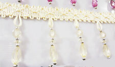 1m New Curtain Sewing Beige Fringe Fabric Trim Tassel Crystal  Lace Accessory