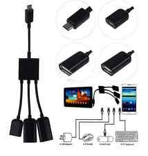 Travel Micro USB 2.0 3in1 Male to Female Host OTG Hub Adapter Cable  For Samsung