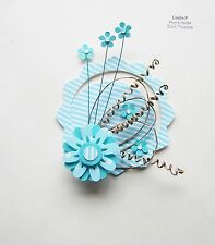 3D CARD TOPPER, ART, CRAFT, EMBELLISHMENT   AA4 Turquoise