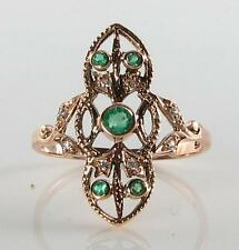 LOVELY 9K 9CT ROSE GOLD LONG COLOMBIAN EMERALD & DIAMOND RING