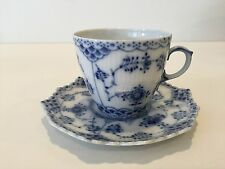 """Royal Copenhagen Blue Fluted Full Lace Denmark Cup & Saucer Set, 2 1/4"""" Tall-Cup"""
