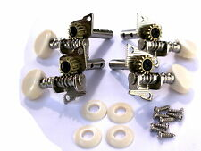 SET OF FOUR UKULELE OR BANJO MACHINE HEAD TUNERS WHITE BUTTON