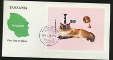Cat Souvenir Sheet  First Day Cover  from Tanzania  LOT 953