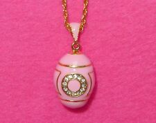 Russian FABERGE inspired ENAMEL Swarovsky Crystals LIGHT PINK GOLD EGG pendant