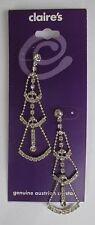 GD Bridal long fancy Crystal stud dangle Earrings CLAIRES FASHION JEWELRY