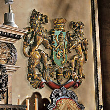 "22.5"" Mythological Lions Majestic Crowned Royal Coat of Arms Wall Sculpture"