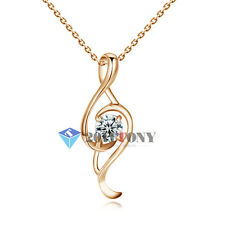 Laddies Musical Note Pendant Necklace 18K Rose Gold Plated Use Swarovski Crystal