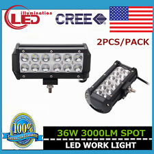 2X 7INCH 36W CREE LED DRIVING WORK LIGHT BAR SPOT LAMP VEHICLE 4WD BOAT ATV UTE