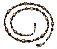 Jet/Black Austrian Crystal Brushed Copper Bead Mix Eyeglass Chain Holder