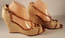 Cole Haan Nike Air Straw Leather Strap Open Toe High Heel Shoe Sandal Sz 10 B