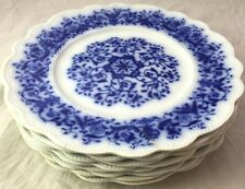 1898 Set of 8 MINTON Blue and White Floral Dinner Plates UNUSUAL