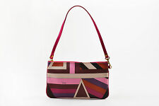 Emilio Pucci Pink Purple Red Abstract Print Coated Canvas Zip Top Bag Pouch