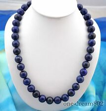 "Attractive 23""14mm round blue nature lapis lazuli necklace"