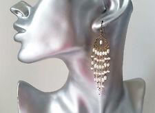 """Hermosa 3"""" largo Antiguo-Vintage Oro Tono & Pendientes de Perlas de Imitación"""