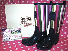 NEW! COACH A7752 PEARL Rubber Rainboots Rain Boots Wellies Logo Legacy Srtiped 5