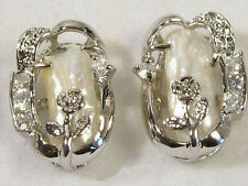 Real Natural White Baroque Pearl White Gold Plated Crystal Flower Earrings