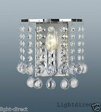 PALAZZO WALL LIGHT CLEAR CRYSTAL  DROPLETS POLISHED CHROME FRAME