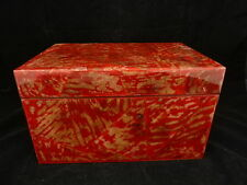 """Jewelry Storage CD Box Hinged lid 11"""" x 8"""" x 7"""" Thick Laquer Finish Red Gold"""