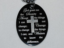SERENITY PRAYER Cross Necklace Christian Faith Black with Stainless Chain